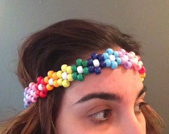 Rainbow Kandi flower headband!