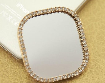 1pcs Bling Alloy Square Rhinestones Mirrors cabochon decoden Metal Accessories / DIY cell phone case deco den jewelry making/embellshment