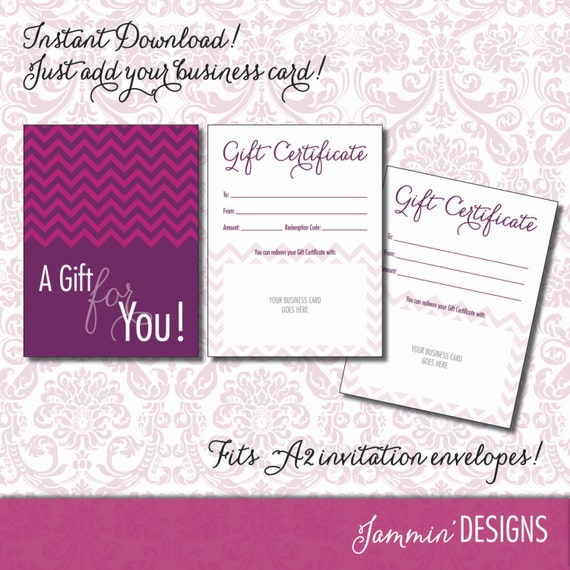 Gift Certificate Card - INSTANT DOWNLOAD