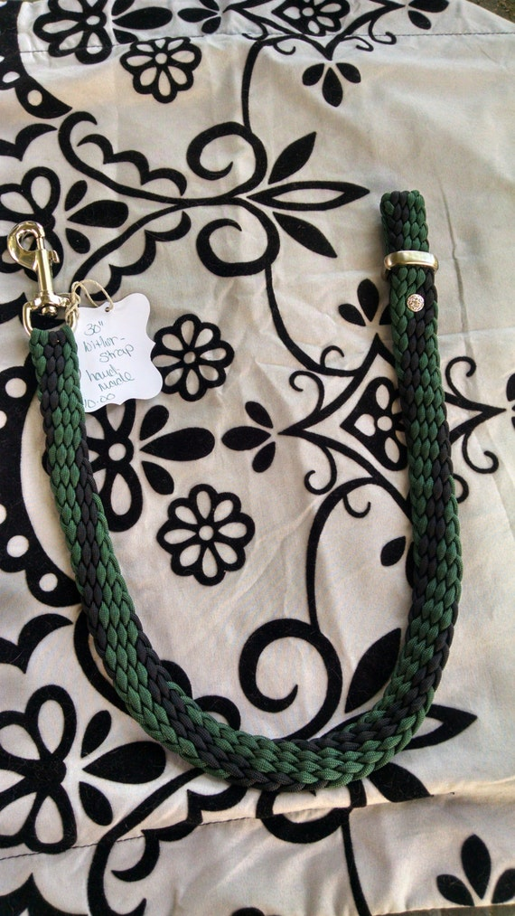 """Horse Tack: Paracord Wither Strap 30"""" - Emerald Green/Black, Adjustable, Chicago screws, Bolt Snap,Keeper"""