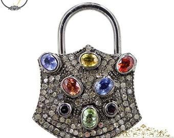 Multi Sapphire Diamond PadLock Pendant Jewelry,925 Sterling Silver Padlock Pendant Jewelry,Fashion Gemstone Padlock Necklace Jewelry