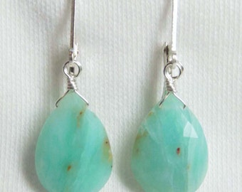 16mm BLUE PERUVIAN OPAL faceted gem stone pear briolette sterling silver drop earrings