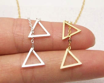 Dainty Triangle Necklace in Gold/Silver NB648