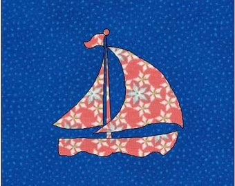 Sailboat Pattern - Sailboat Quilt Block - Quilt Appliqué - Instant Download - Block Pattern - Quilt Pattern - Quilt Block - Block Pattern