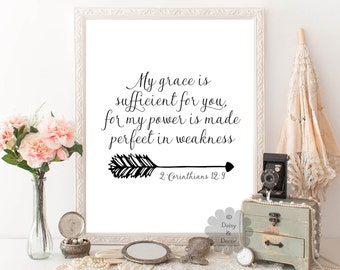 2 Corinthians 12:9 My grace is sufficient for you Bible verse print verse typography Scripture print artwork modern art printed art print