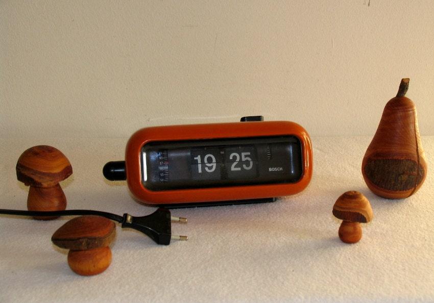 Vintage Flip Clock Alarm Clock West German Bosch Black