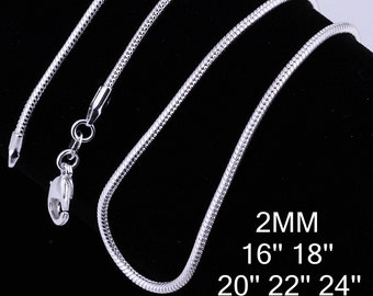 """Wholesale Silver Plated 2mm Snake Chains x20 (20""""22""""24"""")  N001"""