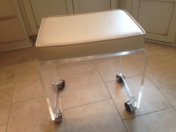 Mid Century Modern Lucite Vanity Stool With Wheels