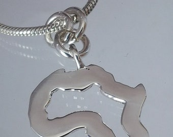 Sterling silver African map - handcrafted, 925 jewellery, Christmas