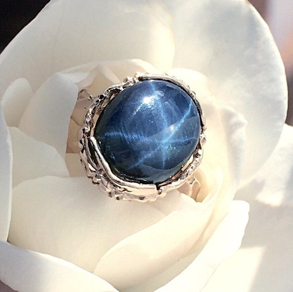 Blue Star Sapphire Ring 10kt Yellow Gold Vintage Ring With