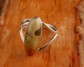 polished sterling silver, Jasper stone, oval, split shank ring