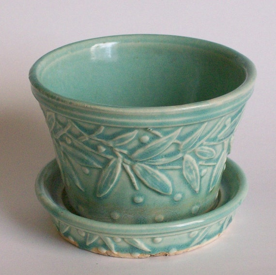 Vintage Mccoy Pottery Aqua Leaves Amp Hobnail Flower Pot