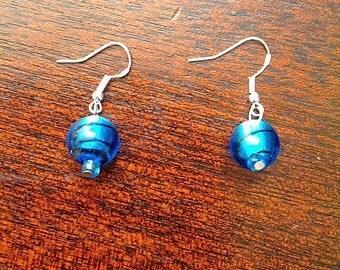 Metallic Blue Glass Earrings