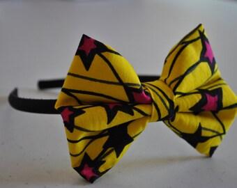 Yellow Star Kitenge Hair Bow Naledi