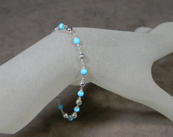Sterling Silver and Synthetic Turquoise Bead Layering Bracelet - 7 1/4""