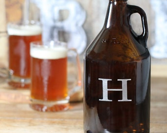 Amber Glass Beer Growler - 64 oz. with Single Initial (g156-1105) - Free Personalization