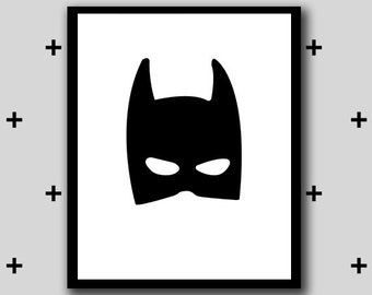 Printable batman superhero artwork (no words) - superhero in training wall art - boys room superhero - monochrome - INSTANT DIGITAL DOWNLOAD
