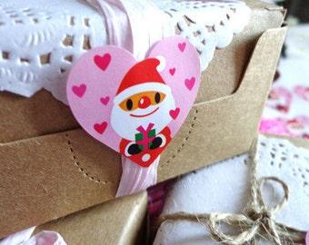 Cute KAWAII Heart Shaped Snowman & Santa Christmas Seal Stickers/Gift Stickers/ 24PCS/2sheets