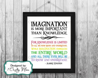DIY Printable- Imagination is More Important than Knowledge Tomorrowland Quote- Albert Einstein: 8x10 11x14 Printable Art- Instant Download