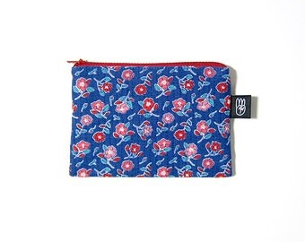 Cobalt Blue Floral Print Coin Purse, Credit Card Purse, Small Zip Pouch, Card Pouch