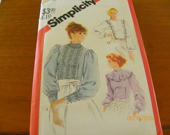 Vintage 1982 Simplicity 5484 Sewing Pattern Misses' Fitted Back-Button Blouses, Size Miss 12.