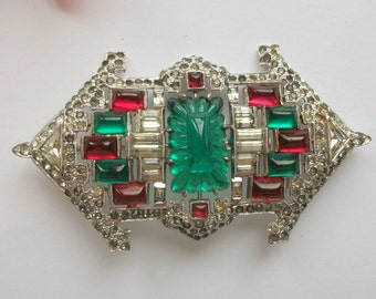 Vintage Art Deco Brooch, Rhinestone Brooch, Ruby & Emerald Paste Gems, Saks of Fifth Avenue, Vintage Wedding, Bridal Gift