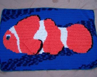 Clown Fish Crochet Pattern, Clown Fish Baby Blanket, Nemo Crochet Pattern