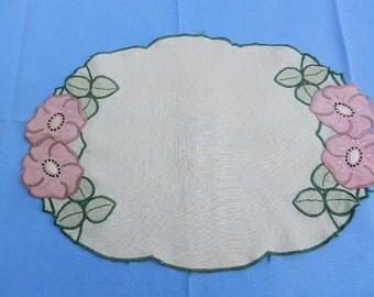 Linen and Appliqué Dressing Table / Vanity Set