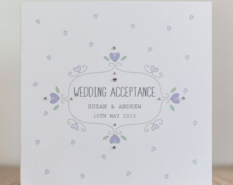 Handmade Personalised Wedding Acceptance Card - Wedding Acceptance Card Pink, Lilac, Green, Blue