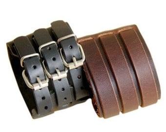 Wide Cuff Genuine Leather Bracelet, Leather Bracelet, Wide Cuff Bracelet, Leather Buckle Bracelet, Black, Brown, Leather Cuff, Wide Cuff