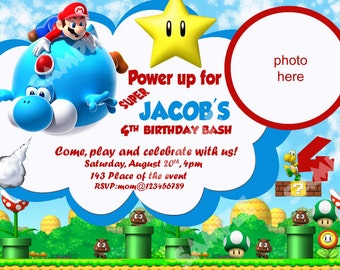 Super Mario Invitation, Super Mario Bros Invitation. Super Mario Birthday Invitation. Digital (you print)