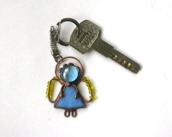 Stained glass little angel Pendant blue Angel Keychain jewerly Tiffany Christmas gift