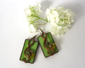 Lime earrings Stained glass jewelry Contemporary earrings Green rectangular glass earrings Tiffany Music Note
