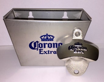 Corona Extra Wall Mounted Bottle Opener & Catcher