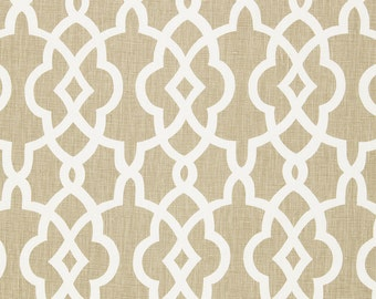 SCHUMACHER CHINOISERIE FRETWORKS Trellis Linen Fabric 10 yards Sand