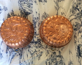 Pair of Vintage French Copper Mold Pans Tin Lined Fruit Pattern
