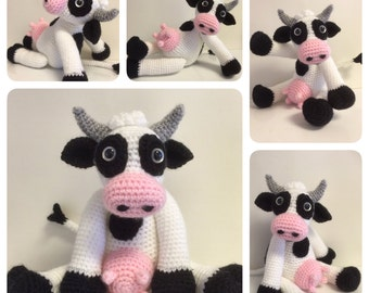 Crochet Pattern - Bella the Cow, Crochet Cow, Crochet Animal, Crochet Softie, Amigurumi Cow Pattern, Stuffed Cow, Softie, Stuffed Toy,