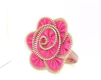 Handmade headband with pink zipper flower