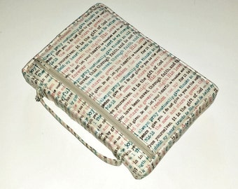 Tan and Teal Zippered Bible Cover