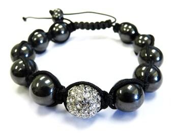 Iced Out Shambala Bracelet with Magnetite Beads