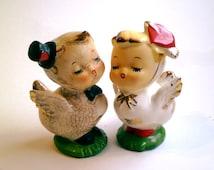 SALE: Napco Love Birds Anthropomorphic Kissing Salt & Pepper Shakers | Mid Century Kitschy Kitchen | Anniversary / Wedding / Valentine's Day