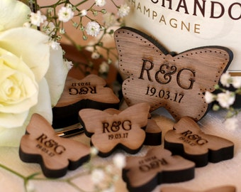 Personalised Wooden Mr & Mrs Love Butterflies Wedding Table Decoration Favour Walnut