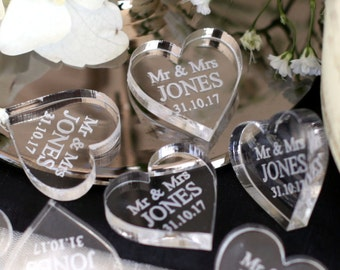 Personalised Mr & Mrs Love Heart Wedding Table Decoration Favours