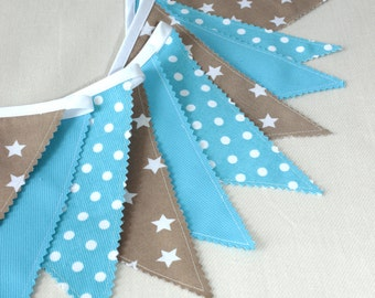 Blue Bunting, Fabric Garland, Flags Banner, Blue Nursery, Party Decor Banner