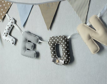 Baby Name, 4 Letters Fabric Garland, Nursery Decor, Photo Props