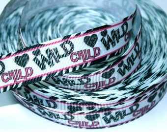 7/8 inch Wild CHILD - (zebra border/hot pink accents)- Printed Grosgrain Ribbon for Hair Bow