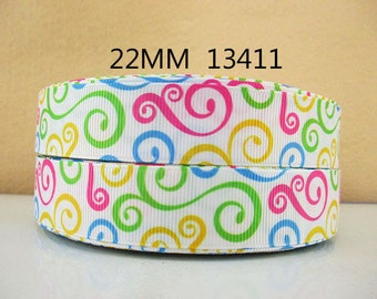 7/8 inch Multicolor Swirls on White - 13411 - Printed Grosgrain Ribbon for Hair Bow