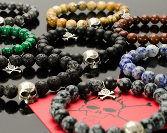 Mens Skull - Skull bracelets for men with BIG skull, pendant with crossed bones and 16 colors of natural stones!