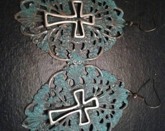 Turquoise and Bronze vintage finish Cross earrings
