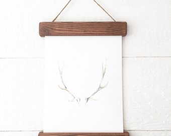 Rustic Frame Antler PRINT- Antler Painting - Antler Watercolor Painting - Antler Painting - Antler Art - Home Decor - Home- Watercolor Print